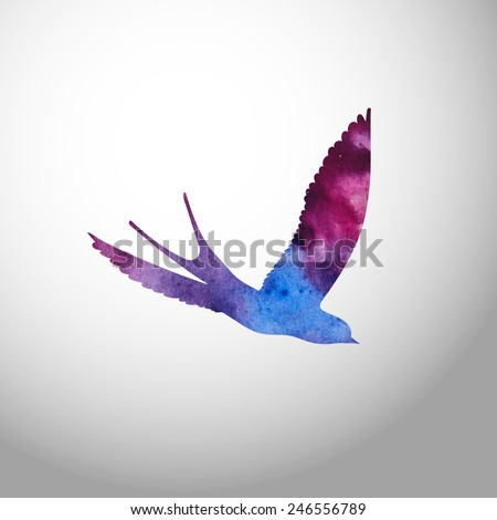 Watercolor bird. Paint silhouette of a swallow. Beautiful stain and texture of a painted paper.  - stock vector