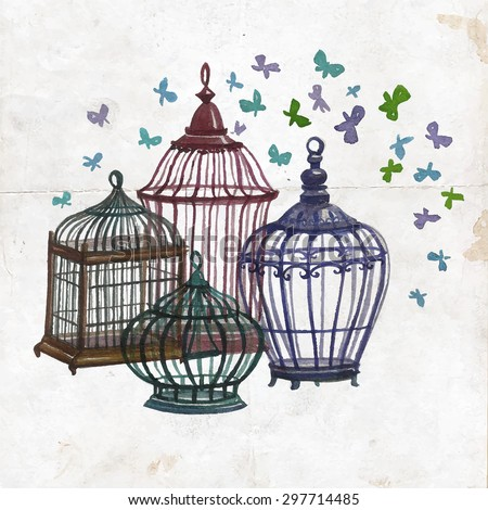 Watercolor birdcages collection, gardening design elements. Background for card, poster, postcard,invitations,wedding, birthday party.