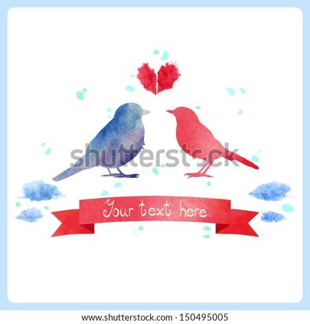 Watercolor birds. - stock vector