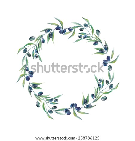 Watercolor black olive branch wreath. Hand drawn natural vector frame. Healthy food illustration. - stock vector