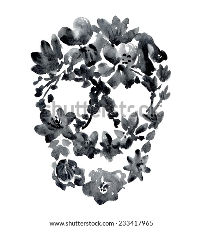 watercolor black skull with flowers. vector illustration - stock vector
