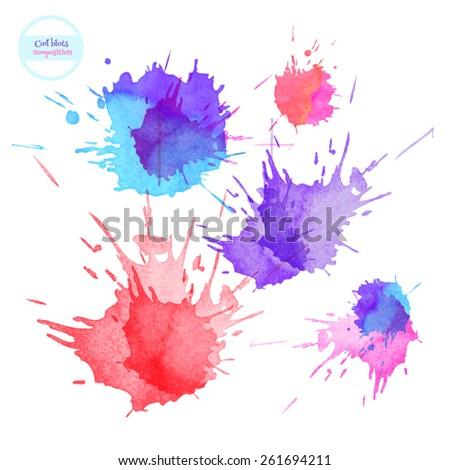 Watercolor Blots - stock vector