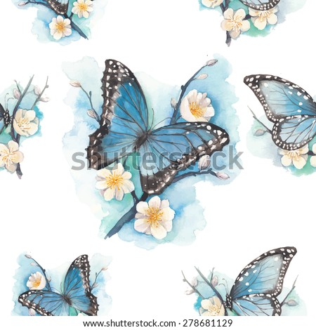 Watercolor blue butterfly on blossom plum tree branch pattern. Vector seamless texture with artistic illustration with flowers and butterfly.  - stock vector