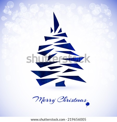 Watercolor blue Christmas card with christmas tree - stock vector