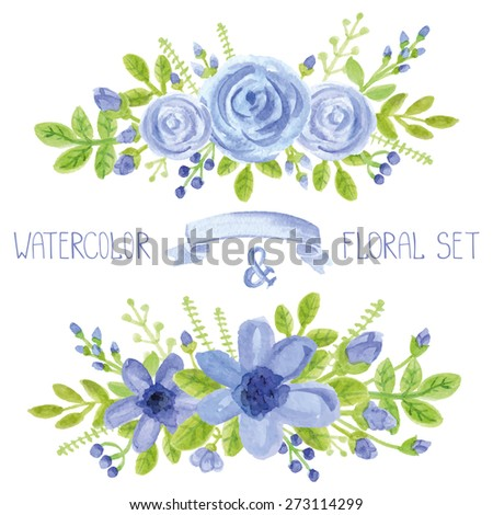 Watercolor blue  flowers,green branches,leaves bouquet set. Hand painted berries,floral,petal ,roses and daisy  decor elements.For design template,invitation.Holiday Vector,wedding card - stock vector