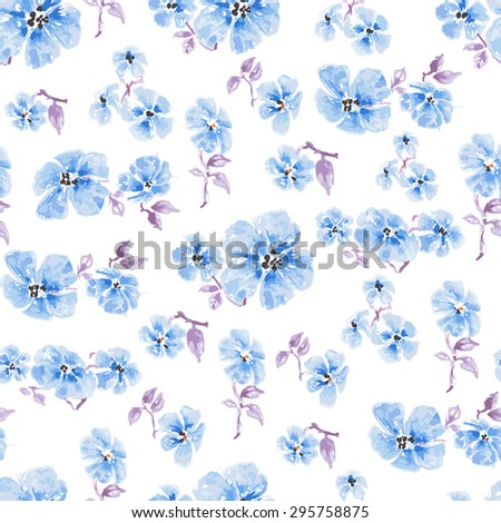 Watercolor blue flowers seamless pattern over white - stock vector