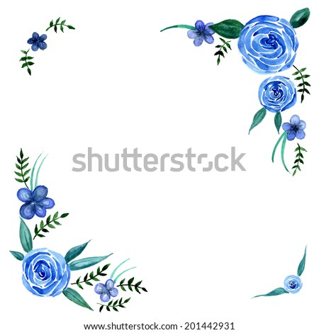 Watercolor blue flowers with leaves wreath frame vector - stock vector