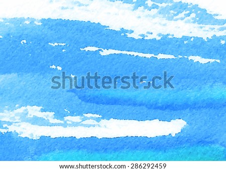 Watercolor blue hand drawn strokes paper texture on white background. Wet brush painted smudges and splash abstract vector striped illustration. Design water element for banner, print, template, web  - stock vector