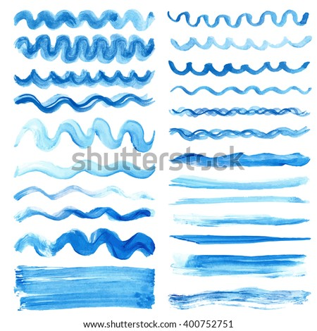 Watercolor blue  pattern line borders,brushes,hand painting background.Vector blue wavy brush,cyan color.Water artistic texture.Summer Vacation design ,pattern.Holiday,watercolor line,blue background - stock vector