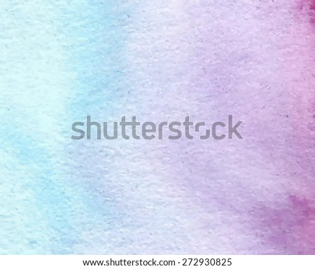 Watercolor blue violet hand drawn paper texture grain background. Wet brush painted smudges and streaks abstract vector illustration. Handmade design element for card, banner, scrapbook, cover, poster - stock vector