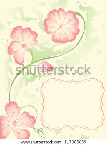 Watercolor branch with a frame - stock vector