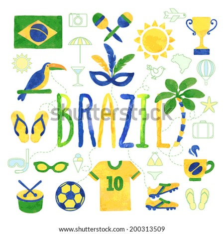 Watercolor Brazil icons - vector - stock vector