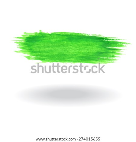 Watercolor brush green - stock vector