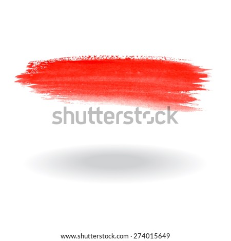 Watercolor brush red - stock vector