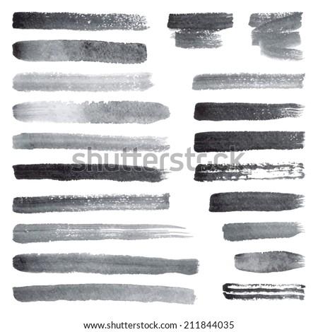 Watercolor brush strokes - stock vector