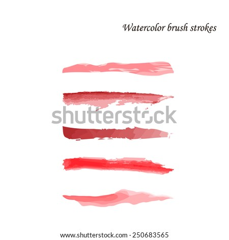 Watercolor brush strokes set. Isolated on white background. Vector.