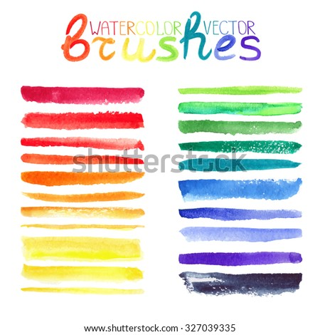 Watercolor brush strokes,texture,line border.Colorful vector.Hand drawing artistic paint art. Bright design template.Rainbow colors, summer decor elements.Add-ons - stock vector