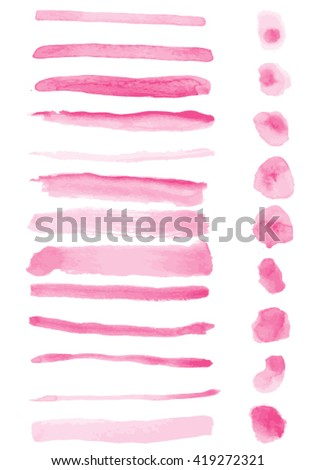 Watercolor brush strokes, Vector watercolor stains