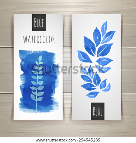 watercolor brush strokes with floral elements. Document template - stock vector