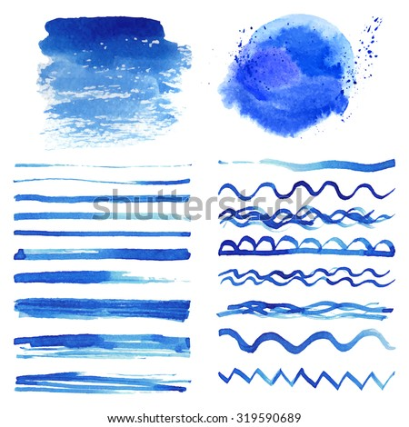 Watercolor brushes,stains,hand painting spot,wavy brush stroke set.Light blue,cyan,color.Bright design template.Blur vector,summer background.Artistic texture,sea wave,water,sky - stock vector