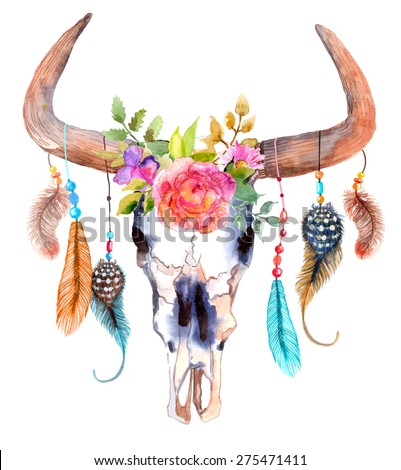 Watercolor bull skull with flowers and feathers, Vector