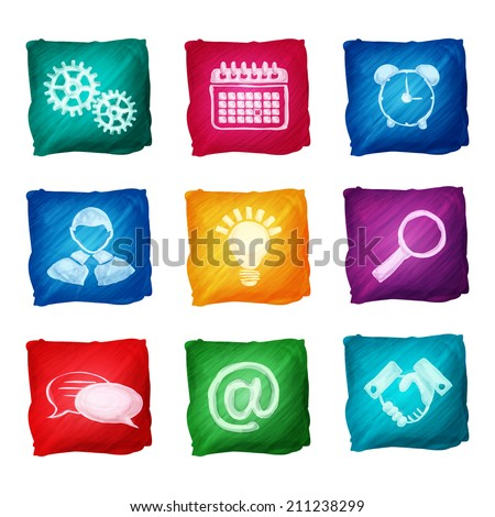 Watercolor business icons set of handshake lightbulb alarm clock isolated vector illustration.