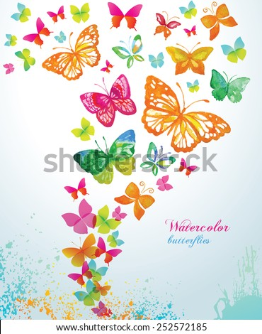 Watercolor butterflies and splash. Vector background. - stock vector