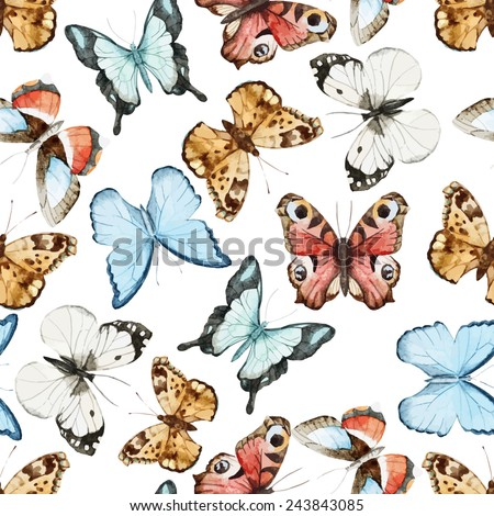 watercolor, butterfly, wallpaper, - stock vector