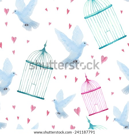 Watercolor cage and dove pattern. Seamless vintage texture with hearts. Isolated hand drawn objects in vector background.   - stock vector