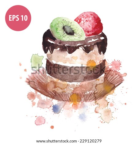 watercolor cake with kiwi and strawberries, hand drawn - stock vector