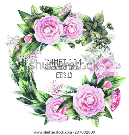 Watercolor  camellia wreath. Vector frame isolated on white background - stock vector