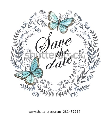 Watercolor card Save the date.  Hand painting. Illustration for greeting cards, invitations, and other printing projects. - stock vector