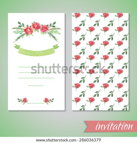 Watercolor card templates for wedding invitation, save the date cards, mothers day, valentines day, birthday cards with flowers and ribbon Vector illustration eps 10