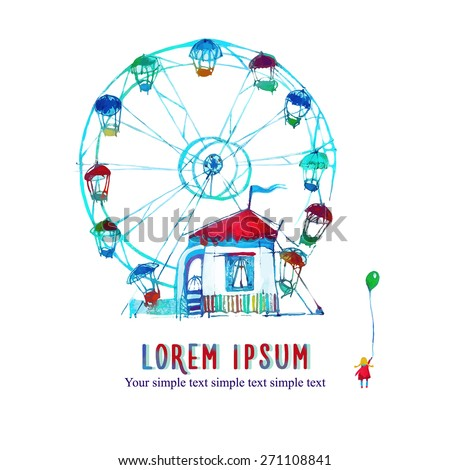 watercolor card with a picture of the carousel and the girl with balloon - stock vector