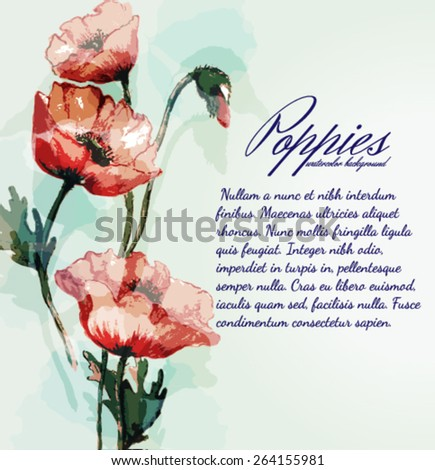 Watercolor card with poppies - stock vector