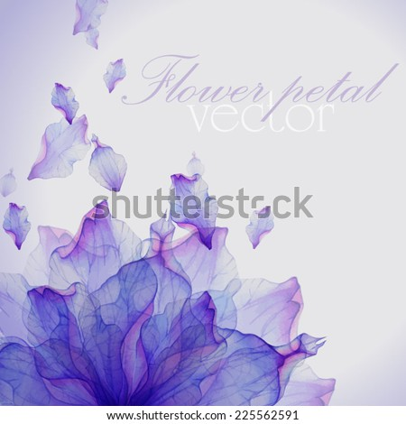Watercolor card with Purple flower petal. Vectorized watercolor drawing. - stock vector