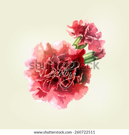 Watercolor carnations on light background. Wedding card. Invitation card.  Elegance pattern with flowers. Vintage vector illustration, eps 10 - stock vector