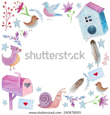 Watercolor cartoon objects frame. Round frame with birds, flowers, post box and feathers - stock vector