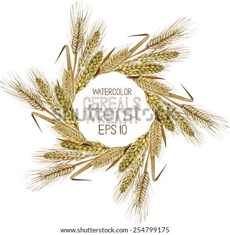 Watercolor cereal wreath. Wheat, barley and rye. Vector frame - stock vector