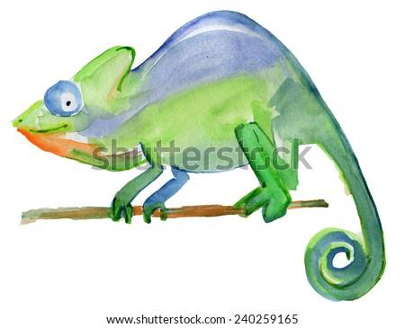 Watercolor chameleon illustration. Vector. - stock vector