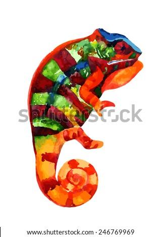Watercolor chameleon. Vector illustration - stock vector