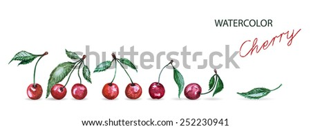 watercolor cherry set isolated on white background. Vector version - stock vector