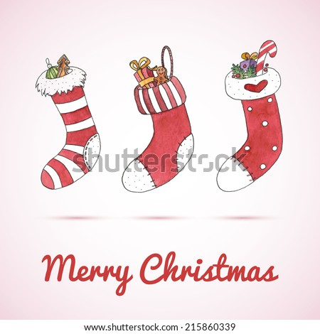Watercolor Christmas and New Year greeting card with stockings. EPS 10. Transparency. Gradient. - stock vector