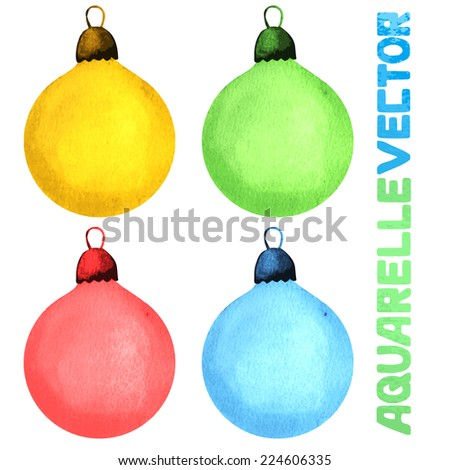 Watercolor Christmas Balls Vector Background Collection - stock vector