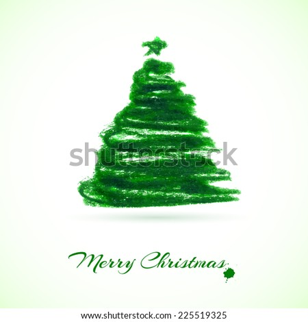 Watercolor Christmas card with christmas tree. Vector illustration - stock vector