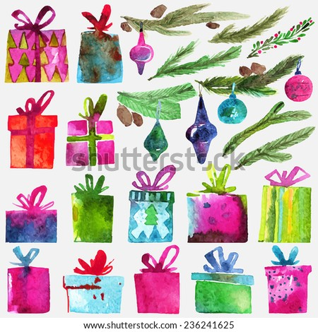 Watercolor Christmas set with gift boxes, holly branches and toys isolated on white background. Watercolor art. Vector illustration. Christmas decoration elements. - stock vector