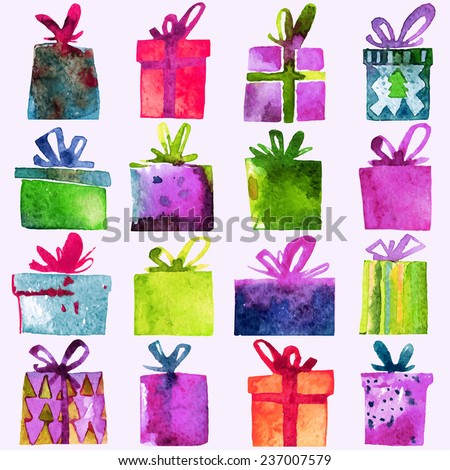 Watercolor Christmas set with gift boxes,  isolated on white background. Watercolor art. Vector illustration. Christmas decoration elements. - stock vector