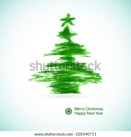Watercolor Christmas tree stylized brush strokes of green. Vector illustration - stock vector