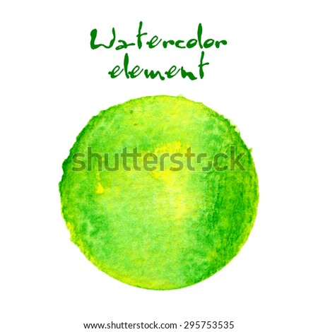 Watercolor circle isolated on white background. Handdrawn design element in green and yellow colors. Vector illustrations EPS10. - stock vector