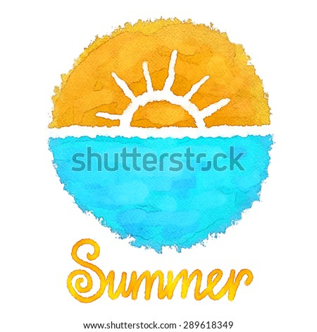 Watercolor circle paint stain, hand drawn sketch sun, sea, word summer isolated on white background, icon, logo design - stock vector